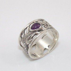 925 Natural Purple Amethyst Dragon Ring Size 10.5